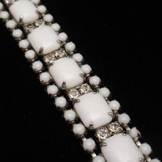Milk Glass & Rhinestone Vintage Bracelet