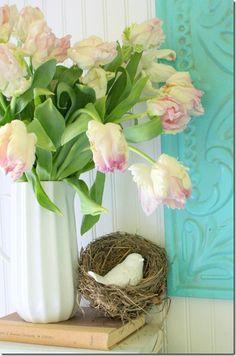 Spring decorating + mantel @Gina @ Shabby Creek Cottage