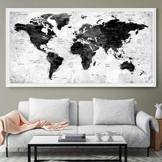 How to make a push pin travel map and gallery wall on a budget large watercolor map world push pin travel cities wall black white gray home decor push gumiabroncs Gallery
