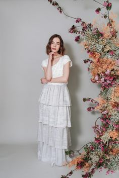 Lace cropped tee with velvet tiered skirt by Kate Beaumont, Sheffield + Yorkshire Independent Wedding Dress Designer: Effortless Modern Bridal Elegance Kate Wedding Dress, Wedding Skirt, Designer Wedding Dresses, Bridal Elegance, Silver Skirt, Bohemian Bride, Modern Bohemian, Bridal Separates, Beautiful Wedding Gowns