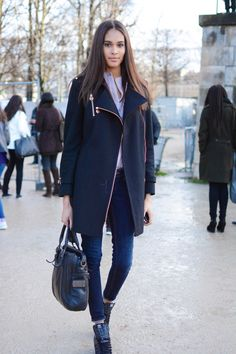 spyasilhouette: Cindy Bruna after the Elie Saab show. PFW by Marianne Chagnon