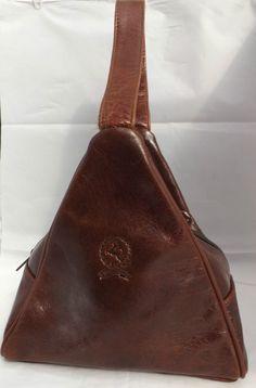 Vintage Rare Royal Cuir Chestnut Brown Leather Triangle shaped Handbag