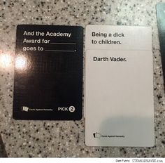 Fun Times Playing Cards Against Humanity – Strange Beaver Stupid Funny Memes, Funny Posts, The Funny, Funny Quotes, Hilarious, Terrible Jokes, Funny Stuff, Cards Vs Humanity, Funniest Cards Against Humanity