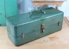Vintage Firestone DeLuxe Fishing Tackle Box Circa 1940s . Large Metal Tool Box…