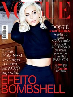 Kim Kardashian poses as Marilyn Monroe on the cover of Vogue Brazil June 2015, shot by Ellen von Unwerth.