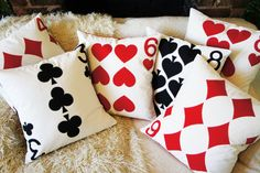 Playing card cushions - perfect for a game room Game Room Basement, Playroom, Alice In Wonderland Bedroom, Handmade Cushions, Game Room Decor, Entertainment Room, Poker, Decoration, Family Room
