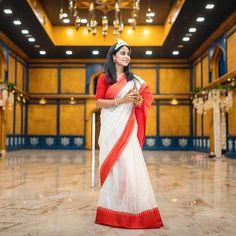 Stunning Bengali Brides That Are The New Trendsetter! Red And White Saree, Purple Saree, Bengali Bridal Makeup, Bridal Chura, Wedding Attire, Wedding Events, Weddings, Wedding Canvas, Bengali Bride