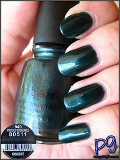 Emerald Fitzgerald is listed as a turquoise green frost with shimmer.  It's definitely darker than Emerald Sparkle, and of course, it's a frost, not a glitter.  It also looks a little like their 2009 Summer Days color, Watermelon Rind, but that has more blue in it.