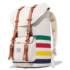 We are thrilled to share our first collaboration of 2016! Hudson's Bay Company and Herschel Supply Co, two internationally recognized brands have partnered to bring a limited edition of travel essentials. The collection combines the iconic Hudson's Bay Multi Stripes with Herschel's premium finishes. Among the pieces are the Little America Backpack (pictured), Novel Weekender Duffle Bag, Chapter Dopp Kit and the Heritage Backpack.In stores now! #multistripe #herschel #backpack #travel #bag Sling Backpack, Herschel Backpack, Hudson Bay Blanket, Bay Point, Fur Trade, Cool Countries, Toms, Louis Vuitton, Dopp Kit