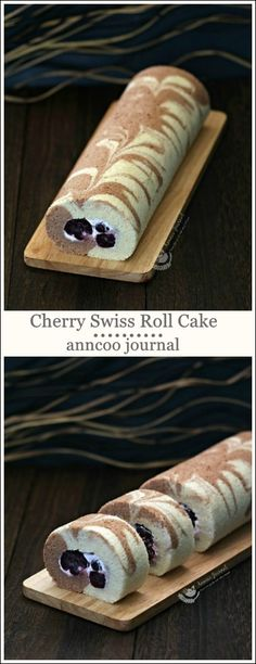 Soft and moist Cherry Swiss Roll cake to enjoy with your family over a cup of coffee or simply to give away to your friends. Delicious Cake Recipes, Yummy Cakes, Sweet Recipes, Great Desserts, Dessert Recipes, Swiss Roll Cakes, Malteser Cake, Wedding Cake Cookies, Savoury Cake