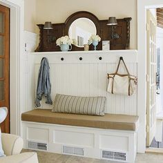 love the antique mirror, beadboard, and bench