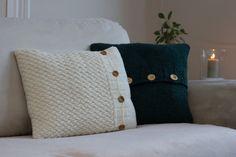 Cream basket weave pattern hand knitted cushion by FredaAndSam, $25.00