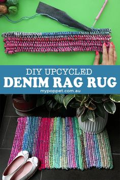 Upcycle Style: Denim Rag Rug Turn these old jeans into practical patchwork with a little bit of scrap yarn and a little crochet know-how. I Upcycle Style: Denim Rag Rug Rag Rug Diy, Diy Crochet Rag Rug, Scrap Yarn Crochet, Diy Rugs, Crochet Rug Patterns, Free Crochet, Pot Mason Diy, Make Tutorial, Rag Rug Tutorial