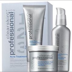 AVON Clearskin Professional Acne Treatment System Formulated with a blend of key ingredients:  - Salicylic Acid* OTC active treatment to clear, reduce & help prevent acne blemishes. *Scrub & Lotion only. - Glycolic Acid An effective skin retexturizer. - Exclusive Zinc Hexapeptide-11 Designed to help control surface oil in oily-prone skin. Avon Makeup