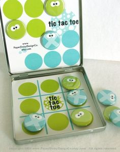 TIC TAC TOE TIN - Googly Brights - Magnetic Game Set Crafts To Make And Sell, Crafts For Kids, Diy Crafts, Reuse Containers, Craft Bazaar, Diy Magnets, Book Markers, Tic Tac Toe, Busy Bags