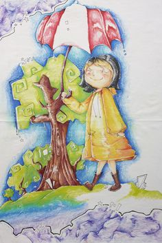 """Fabiana Perez, Creekview High School, """"Life Is as Sunny as Your Smile"""":  """"I created a smiling figure in a bright yellow coat walking through a cloudy night scene. The sunny day contrasting with the cloudy night represents our walk through life. Life is as sunny as you make it."""""""