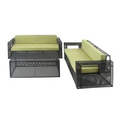 Shop for Green Metal Fabric Outdoor Sofa (Set of 3). Get free delivery at Overstock.com - Your Online Garden