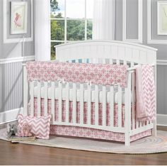 NEW!! Pink Metro 4-pc. Baby Bedding Set. Free Shipping when you buy from Liz and Roo. Shop Now!!