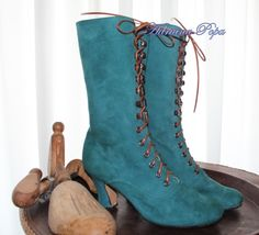 Victorian Boots Ankle Boots in Green  camoscio suede leather by VictorianBoots on Etsy https://www.etsy.com/listing/157065050/victorian-boots-ankle-boots-in-green
