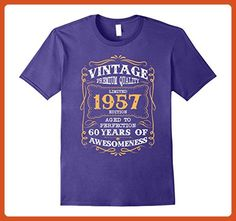 Mens Vintage Born in 1957 60st Birthday T-Shirt 60 Years Old Small Purple - Birthday shirts (*Partner-Link)