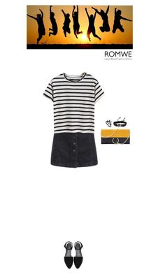 """""""Romwe t shirt"""" by blueeyed-dreamer ❤ liked on Polyvore featuring Summer, contest, denim, stripes and romwe"""