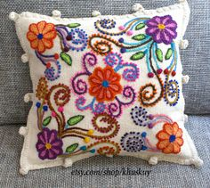 Ivory Pillow cushion cover Hand embroidered flowers Sheep & alpaca wool 15 x…