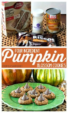 Four Ingredient Pumpkin Blossom Cookies recipe :: The Easiest, yummiest pumpkin cookies ever!