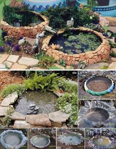 Create a fantastic fish pond for your backyard using an old Tractor Tire!