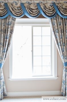 Victorian style curtain set with swags and valances comes in off white cotton with light blue floral patterns. Persian Garden, Blue Kitchen Curtains, Window Toppers, Valance Curtains, Shabby Chic Interiors, Interior Decorating, Interior Design, Curtain Designs, Soft Furnishings