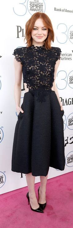 Emma Stone in a Black Lace detail gown by  Monique Lhuillier - gorgeous shape!