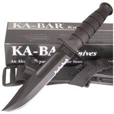 Ka-Bar 1259 Short Black Partially Serrated Knife Kraton G Handle | MooseCreekGear.com | Outdoor Gear — Worldwide Delivery! | Pocket Knives - Fixed Blade Knives - Folding Knives - Survival Gear - Tactical Gear