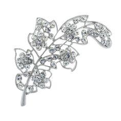Curved Leaf Brooch with Crystal