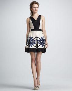 shopstyle.com: Robert Rodriguez Scroll Diamond Box-Pleat Dress