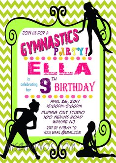 Printable Gymnastics Birthday Invitations