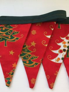 Items similar to Red Christmas Bunting, Green Binding Cotton Fabric, on Etsy Christmas Bunting, Red Christmas, Christmas Decorations, Fabric Garland, Red Tree, Trees, Nursery, Etsy Shop, Unique Jewelry
