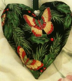 Christmas Butterfly Fabric Heart Lavender Bag / Christmas Ornament - Handmade in Home, Furniture & DIY, Celebrations & Occasions, Christmas Decorations & Trees | eBay