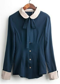 Blue Contrast Collar Long Sleeve Flange Blouse - Sheinside.com
