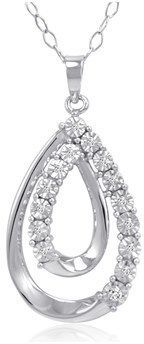 Amanda Rose Collection Sterling Silver Diamond Tear Drop Pendant-necklace ( 1/10ct Tw).