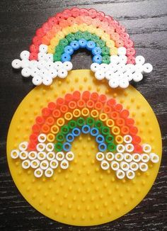 Result of the image for the model of rainbow suspension beads – Basteln mit Bügelperlen – Hama Beads Hama Beads Design, Diy Perler Beads, Perler Bead Art, Pearler Beads, Fuse Beads, Hama Beads Coasters, Seed Beads, Pearler Bead Patterns, Perler Patterns