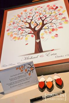 Fall Wedding idea - Guests put fingerprints on a tree as a guestbook! Its already framed and ready to be hung as wall art for years to come! Instead of guest book? Trendy Wedding, Perfect Wedding, Fall Wedding, Diy Wedding, Wedding Favors, Dream Wedding, Wedding Decorations, Wedding Venues, Wedding Quotes