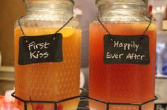 Fantastic, easy cocktails for your #Wedding Reception or Backyard BBQ!   FIRST KISS (2) 750ml bottles Makers Mark (1) 750ml bottle DeKuyper Triple Sec 1 gallon of Simply Lemonade 1 quart Simply Orange Juice 1 heaping bar spoon of orange marmalade  Mix all ingredients together and dissolve the Marmalade completely.  Stir well before serving. Pour over ice in a highball glass. Garnish with orange slice and maraschino cherry.   Makes about 60 (4oz) cocktails.