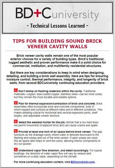 Tips for Building Sound Brick Veneer Cavity Walls, from Building Design+Construction - the first three are from our article in the magazine, Preventing and Treating Distress in Brick Veneer Cavity Walls. Masonry Construction, Brick Masonry, Diy Home Repair, Cavities, Lessons Learned, Building Design, Articles, Walls, Magazine