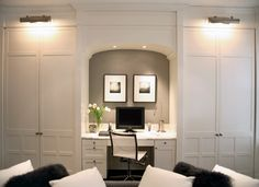 Paul Davis New York: Chic built-in office space wth recessed arched desk area. A wall of soft white floor to ...