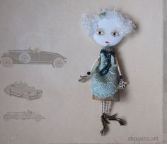Art Doll Brooch Art Deco Girl mixed media collage by miopupazzo,