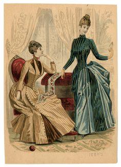 Women 1886-1887, Plate 001 Victorian Era Fashion, 1880s Fashion, Victorian Costume, Steampunk Costume, Vintage Fashion, Steampunk Fashion, Historical Costume, Historical Clothing, Victoria Fashion