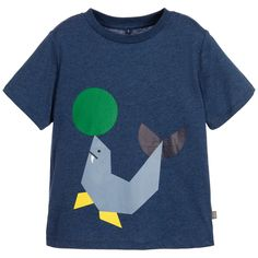 Stella McCartney Kids Boys Blue Cotton Seal T-Shirt at Childrensalon.com