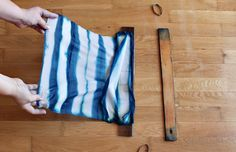Use rubber bands along the edge for horizontal lines as well -- How to Make a Shibori Silk Scarf - Tuts+ Crafts & DIY Tutorial