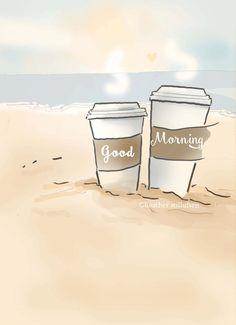 Coffee Art - Coffee Art Print Good Morning on the Beach - Digital Art Print…