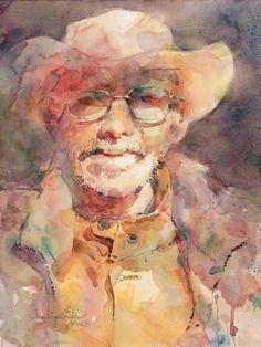 """Contemporary Painting - """"Grandpa"""" (Original Art from Fealing Lin Watercolors)"""