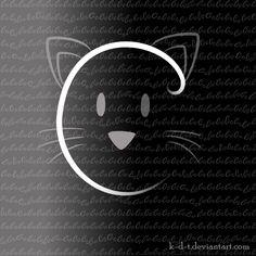 cat face on black
